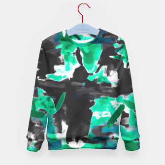 Thumbnail image of psychedelic vintage camouflage painting texture abstract in green and black Kid's Sweater, Live Heroes