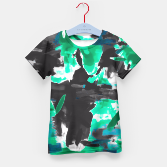 Thumbnail image of psychedelic vintage camouflage painting texture abstract in green and black Kid's T-shirt, Live Heroes