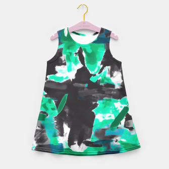 Thumbnail image of psychedelic vintage camouflage painting texture abstract in green and black Girl's Summer Dress, Live Heroes