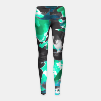 Thumbnail image of psychedelic vintage camouflage painting texture abstract in green and black Girl's Leggings, Live Heroes