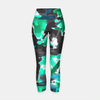 Thumbnail image of psychedelic vintage camouflage painting texture abstract in green and black Yoga Pants, Live Heroes