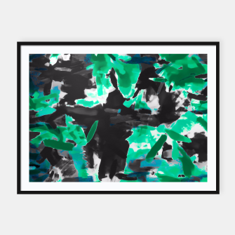 Thumbnail image of psychedelic vintage camouflage painting texture abstract in green and black Framed poster, Live Heroes