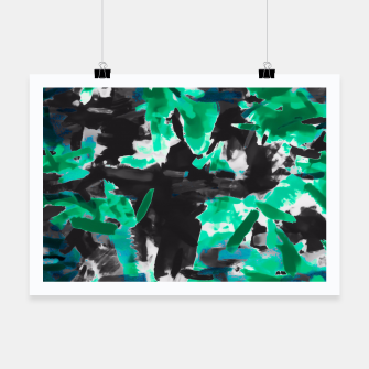 Thumbnail image of psychedelic vintage camouflage painting texture abstract in green and black Poster, Live Heroes