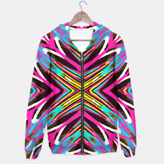 Thumbnail image of psychedelic geometric graffiti abstract pattern in pink blue yellow brown Hoodie, Live Heroes