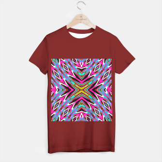 Thumbnail image of psychedelic geometric graffiti abstract pattern in pink blue yellow brown T-shirt regular, Live Heroes