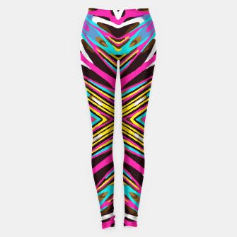 Thumbnail image of psychedelic geometric graffiti abstract pattern in pink blue yellow brown Leggings, Live Heroes