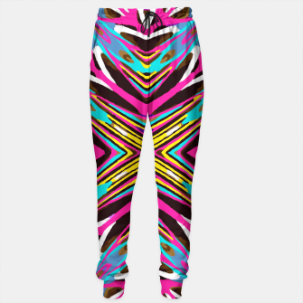 Thumbnail image of psychedelic geometric graffiti abstract pattern in pink blue yellow brown Sweatpants, Live Heroes