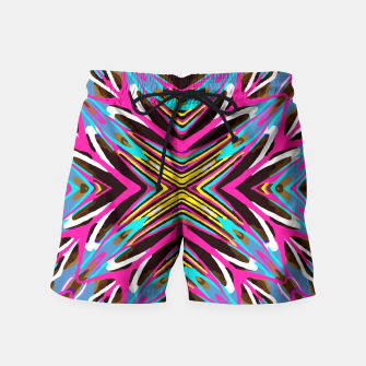 Thumbnail image of psychedelic geometric graffiti abstract pattern in pink blue yellow brown Swim Shorts, Live Heroes