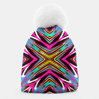 Thumbnail image of psychedelic geometric graffiti abstract pattern in pink blue yellow brown Beanie, Live Heroes