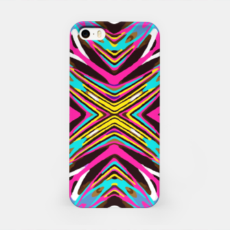 Thumbnail image of psychedelic geometric graffiti abstract pattern in pink blue yellow brown iPhone Case, Live Heroes