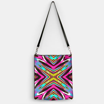 Thumbnail image of psychedelic geometric graffiti abstract pattern in pink blue yellow brown Handbag, Live Heroes