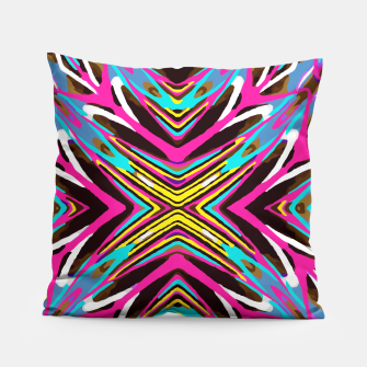 Thumbnail image of psychedelic geometric graffiti abstract pattern in pink blue yellow brown Pillow, Live Heroes