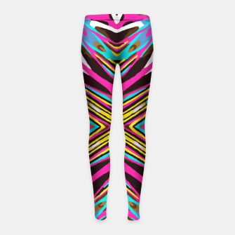 Thumbnail image of psychedelic geometric graffiti abstract pattern in pink blue yellow brown Girl's Leggings, Live Heroes