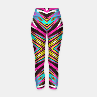 Thumbnail image of psychedelic geometric graffiti abstract pattern in pink blue yellow brown Yoga Pants, Live Heroes