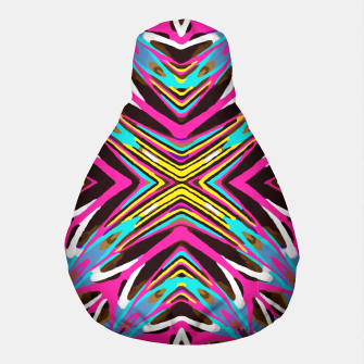 Thumbnail image of psychedelic geometric graffiti abstract pattern in pink blue yellow brown Pouf, Live Heroes