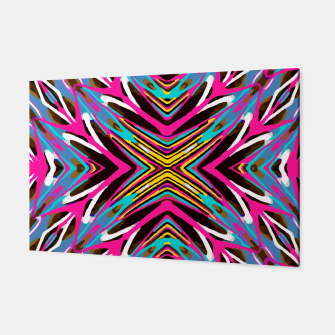 Thumbnail image of psychedelic geometric graffiti abstract pattern in pink blue yellow brown Canvas, Live Heroes