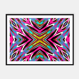 Thumbnail image of psychedelic geometric graffiti abstract pattern in pink blue yellow brown Framed poster, Live Heroes