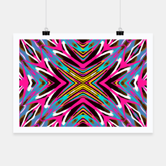 Thumbnail image of psychedelic geometric graffiti abstract pattern in pink blue yellow brown Poster, Live Heroes