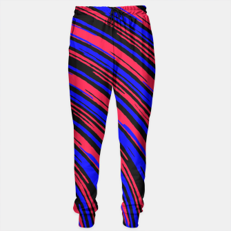 Thumbnail image of graffiti line drawing abstract pattern in red blue and black Sweatpants, Live Heroes