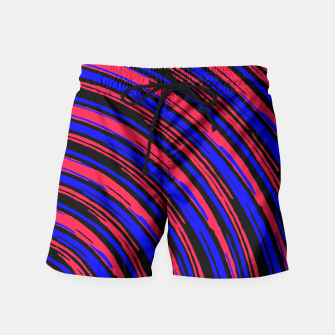 Thumbnail image of graffiti line drawing abstract pattern in red blue and black Swim Shorts, Live Heroes