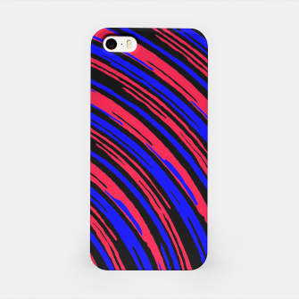 Thumbnail image of graffiti line drawing abstract pattern in red blue and black iPhone Case, Live Heroes