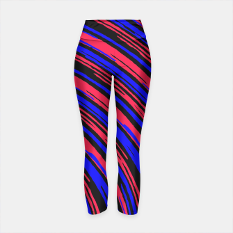 Thumbnail image of graffiti line drawing abstract pattern in red blue and black Yoga Pants, Live Heroes