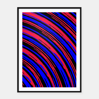 Thumbnail image of graffiti line drawing abstract pattern in red blue and black Framed poster, Live Heroes