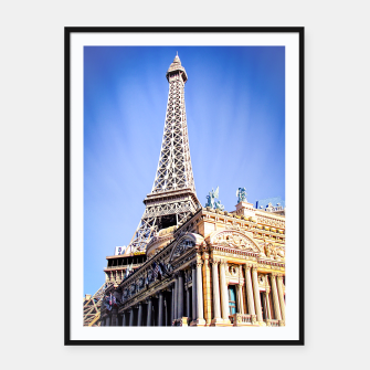 Thumbnail image of Eiffel tower at Las Vegas, USA with blue sky Framed poster, Live Heroes