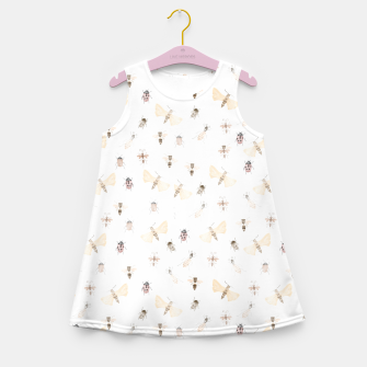 Miniatur Insects Pattern Girl's Summer Dress, Live Heroes