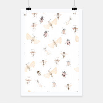 Miniatur Insects Pattern Poster, Live Heroes
