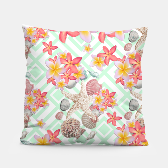 Thumbnail image of Modern tropical flowers seashells geometric design, Live Heroes
