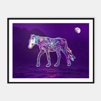 Thumbnail image of Psychedelic dark night horse Framed poster, Live Heroes