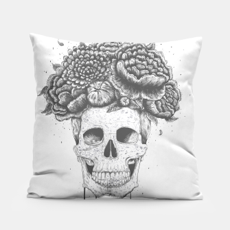 Thumbnail image of Skull with flowers Pillow, Live Heroes