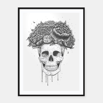 Thumbnail image of Skull with flowers Framed poster, Live Heroes