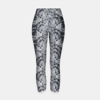 Thumbnail image of Black Floral Lace Yoga Pants, Live Heroes