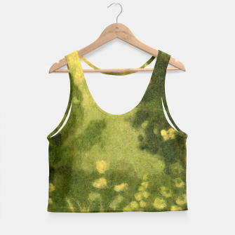 Thumbnail image of Summer lawn, felt painting, green & yellow Crop Top, Live Heroes