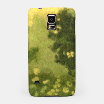 Miniatur Summer lawn, felt painting, green & yellow Samsung Case, Live Heroes