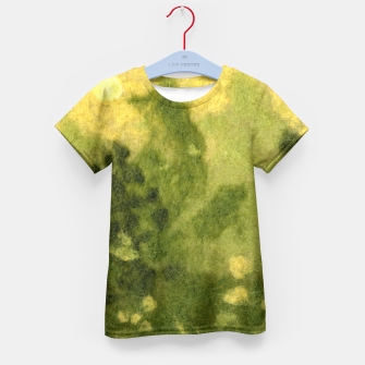 Miniatur Summer lawn, felt painting, green & yellow Kid's T-shirt, Live Heroes