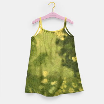 Miniatur Summer lawn, felt painting, green & yellow Girl's Dress, Live Heroes