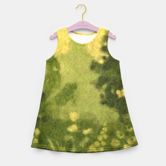 Miniatur Summer lawn, felt painting, green & yellow Girl's Summer Dress, Live Heroes