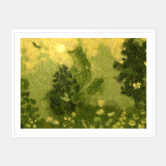 Miniatur Summer lawn, felt painting, green & yellow Framed poster, Live Heroes