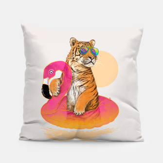 Thumbnail image of Chillin (Flamingo Tiger) Pillow, Live Heroes
