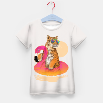 Thumbnail image of Chillin (Flamingo Tiger) Kid's T-shirt, Live Heroes