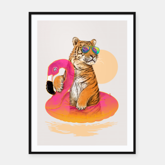 Thumbnail image of Chillin (Flamingo Tiger) Framed poster, Live Heroes