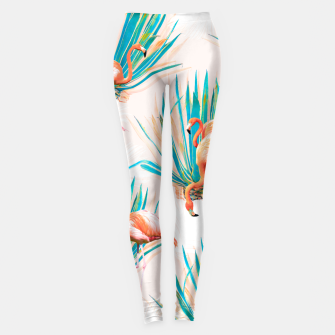 Thumbnail image of Anaglyph Flamingos with cactus Leggings, Live Heroes