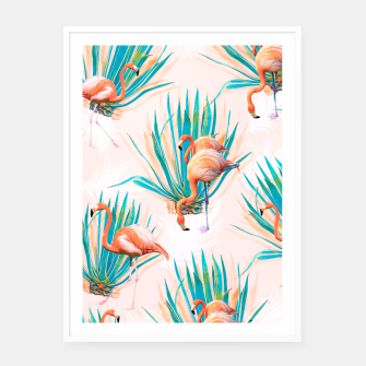 Thumbnail image of Anaglyph Flamingos with cactus Cartel con marco, Live Heroes