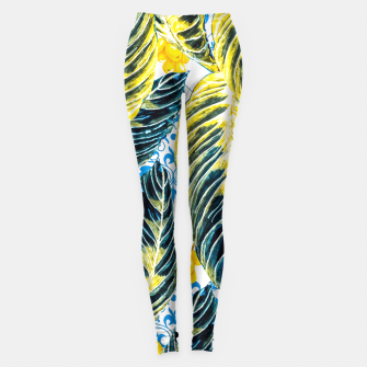 Thumbnail image of Tropical leaf on ornamental pattern Leggings, Live Heroes