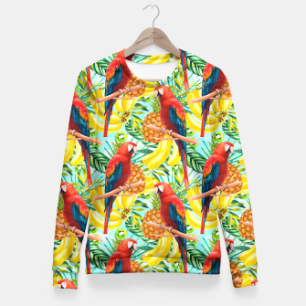 Miniaturka Pattern of birds and tropical fruit Sudadera entallada, Live Heroes
