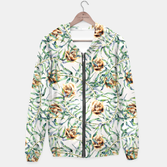 Thumbnail image of Pattern of leaf branches and ocher roses Sudadera con capucha, Live Heroes