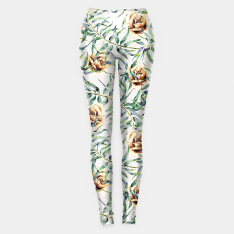 Thumbnail image of Pattern of leaf branches and ocher roses Leggings, Live Heroes